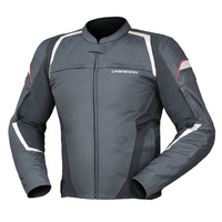 Dririder Mens Rapid Black/White Leather Road Jacket