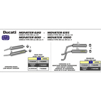 ARROW EXHAUST DUCATI M600-750 94-00 HOMOLOGATED ALUMINIUM LEFT HAND+RIGHT HAND SILENCERS