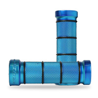 Progrip Blue Single Density (24-28mm) 866 Chrome Cruiser Grips