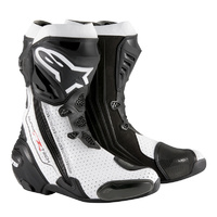 Alpinestars Supertech R-Vented Black/White Perforated Performance Riding Road Boots