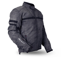 MotoDry Clubman 600D Retro Grey Waterproof Textile Motorcycle Jacket CE armour