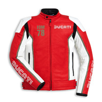 Ducati Genuine IOM C1 White/Red Leather Jacket